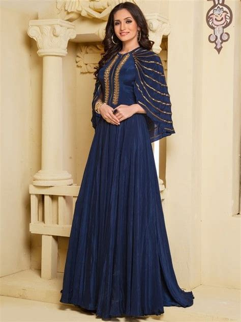 navy blue gown designer gown indian gown party wear