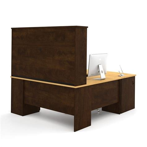 bestar u shaped desk bestar manhattan u shaped computer desk in secret maple and chocolate 81411 75