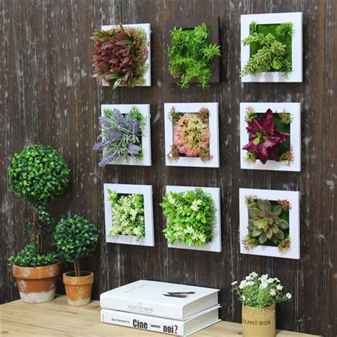 3d Simulation Flower Frame Artificial Plant Wall Decor Wall Hanging Garden
