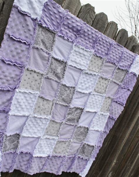 lavender purple gray white rag quilt blanket perfect baby