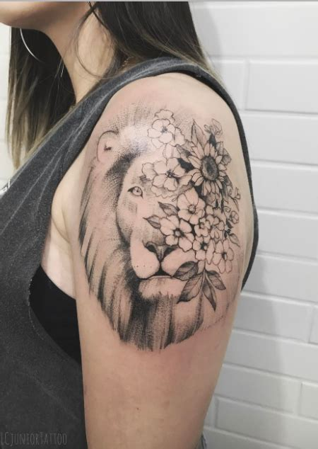 flower lion tattoo inkstylemag