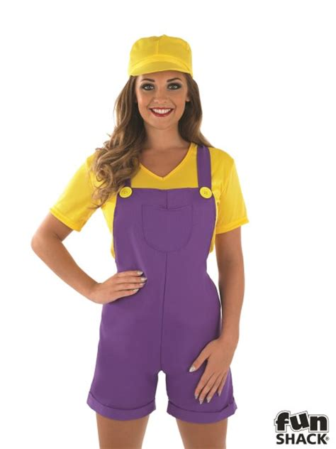 90s fancy dress costumes for girls ladies yellow plumbers girl costume for wario 90s video