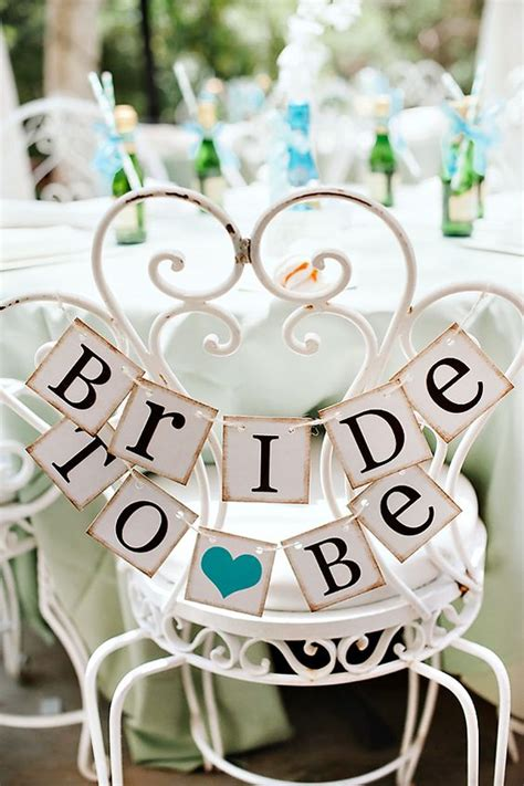 When Is The Bridal Shower by To Be Wedding Vintage Sign Chair Rustic Teal