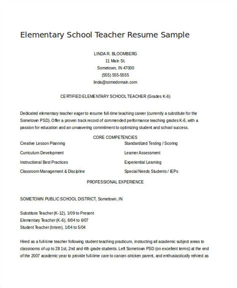 Elementary Resume Template by Resume Exles 23 Free Word Pdf Documents
