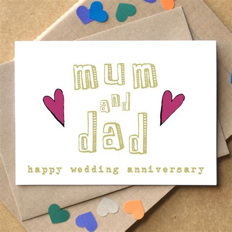 personalised mum and dad wedding anniversary card by becka