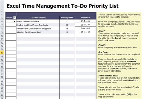 To Do List Template For Microsoft Excel Daily To Do List Template Excel
