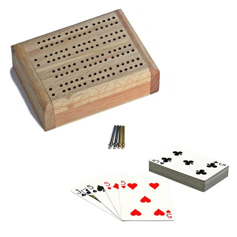 mini travel cribbage set solid wood 2 track board with