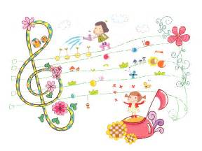 cute girls and sheet music ppt backgrounds green music