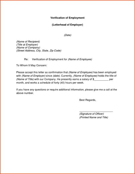 Sponsor Letter Of Employment 10 Verification Of Employment Letter Sponsorship Letter