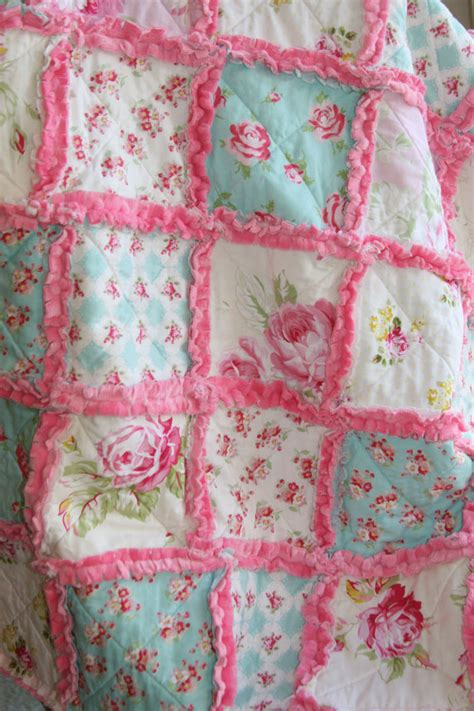 shabby chic rag quilt baby rag quilt pink blue nursery