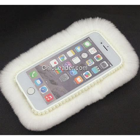 bling rhinestone soft rex rabbit fur for iphone 6