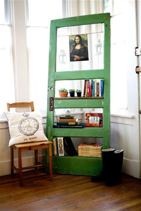 vintage door repurposed bookshelf go green by