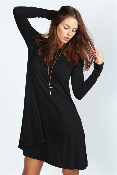 swing dress long sleeve april scoop neck long sleeve swing dress black black
