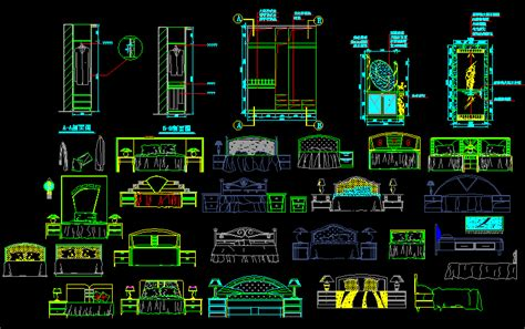 bed drawing dwg block  autocad designs cad