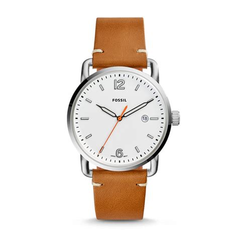 fossil 2258g light brown the commuter three date light brown leather