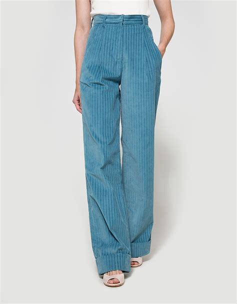 light blue corduroy pants lyst trademark corduroy hi waisted pant in blue
