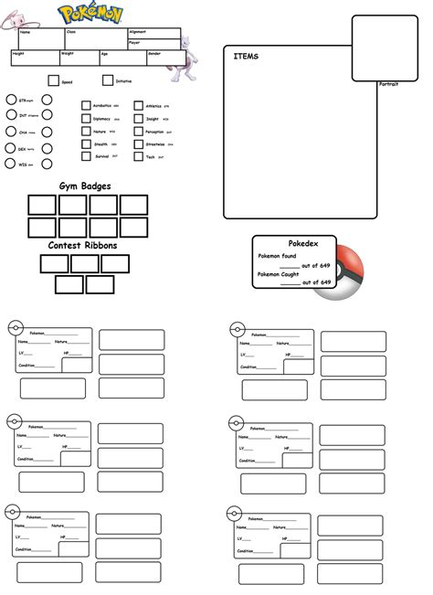 pokemon tabletop character sheet template by chuchymacu on