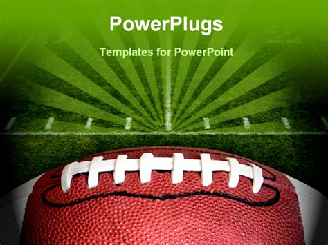 Football Powerpoint Template photo of an american football with the focus on the leather texture and laces or threads with a