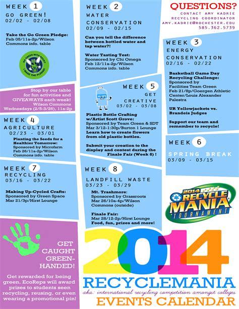 Calendar And Events Recyclemania 2014 Calendar Of Events