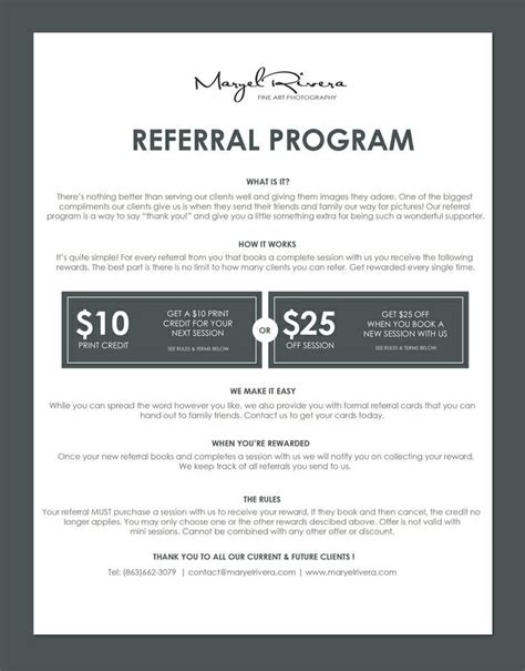 client referral card template referral program maryel rivera photography earn free