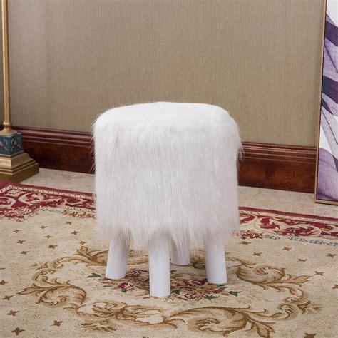 white faux fur ottoman white fur ottoman white faux fur ottoman chairish white