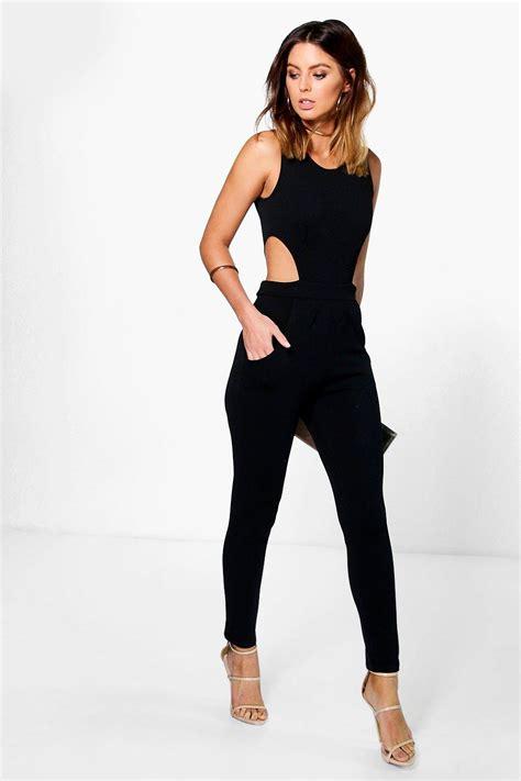 Legged Jumpsuits by Boohoo Womens Lottie Side Cut Out Leg Jumpsuit Ebay