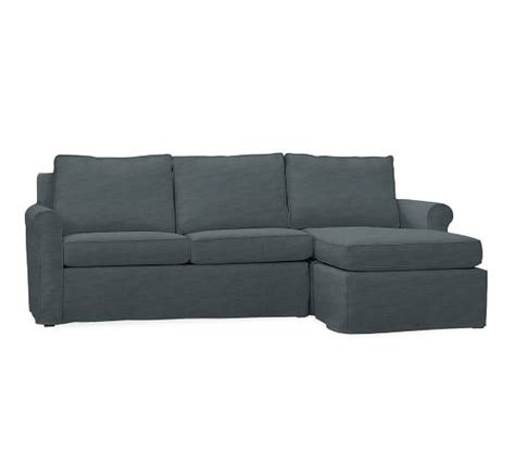Cameron Roll Arm Sofa With Chaise Slipcover Denim Washed Pottery Barn Denim Sofa