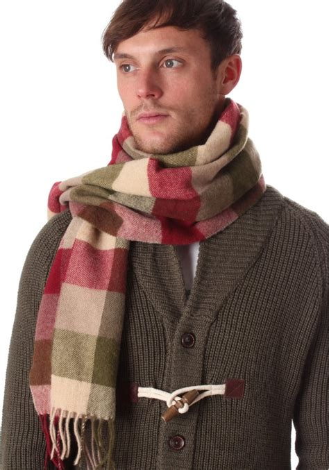 barbour large tattersall s lambswool scarf fawn