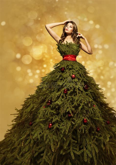 fashion model christmas tree dress woman xmas gown new