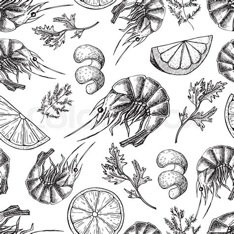 seamless pattern hand drawn seafood shrimp vector drawing seamless seafood pattern shrimp