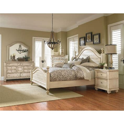 white king bedroom sets heritage antique white 6 king bedroom set