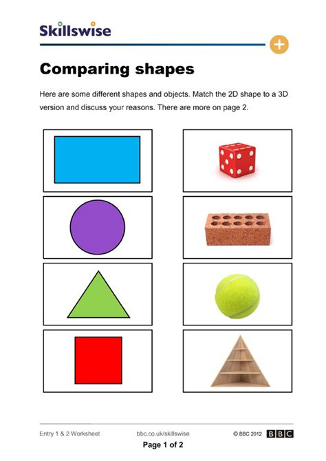 2d And 3d Shapes Worksheet by Comparing Shapes