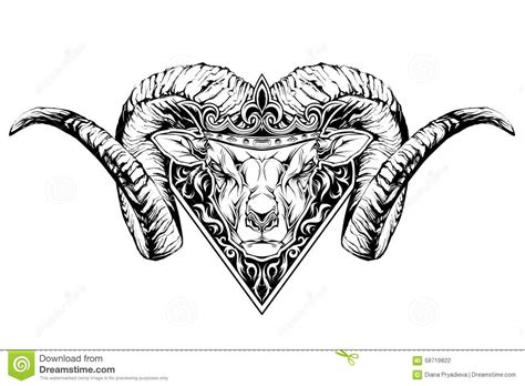 black and white tattoo of a ram head in crown stock