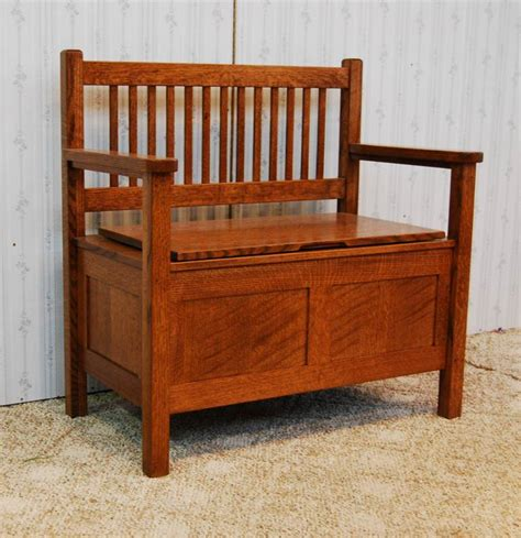 mission style storage bench de vries woodcrafters