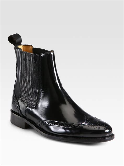 burberry gwendoline patent leather ankle boots in black lyst