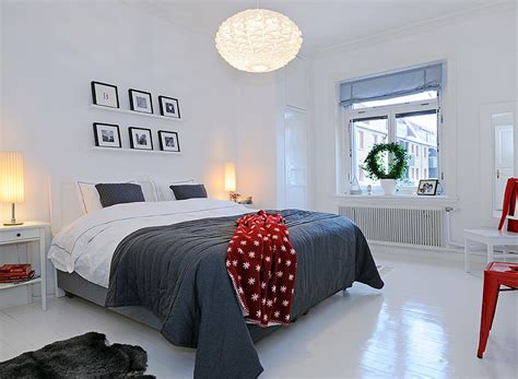 Bedroom With Red Accent Wall - 35 scandinavian bedroom ideas that looks beautiful amp modern
