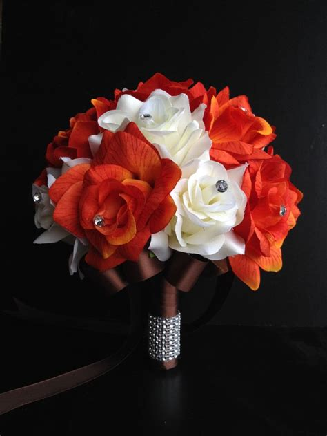 9 quot artificial wedding bouquet orange and ivory roses ribbon color heavens cinnamon