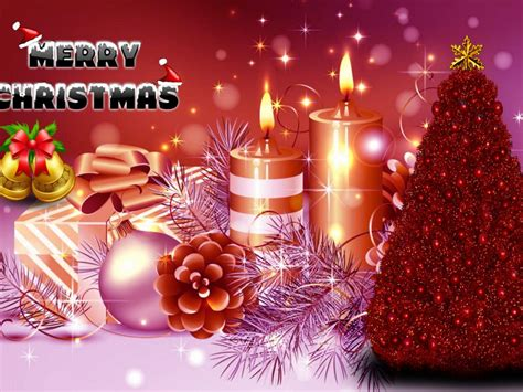 greeting card   year christmas tree candles bells gifts ornaments desktop wallpaper hd