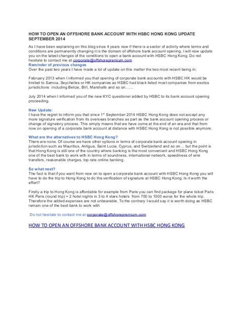 offshore bank account hong kong how to open an offshore bank account with hsbc hong kong