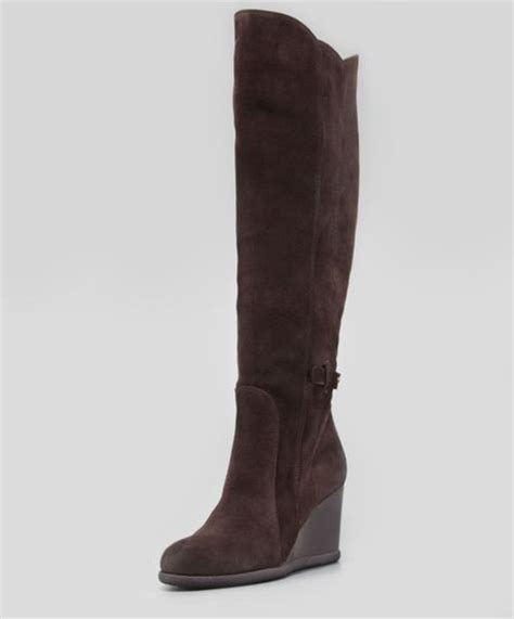 alberto fermani marsala suede wedge knee boot in brown t