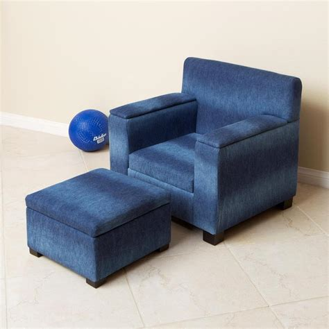 denim recliner blue denim fabric kid s club chair and ottoman set