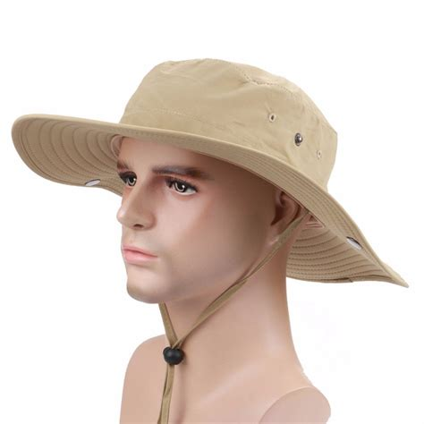 hat with light in brim men hunting fishing outdoor military wide brim caps bucket