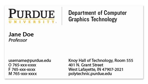 purdue business card template business cards purdue polytechnic institute