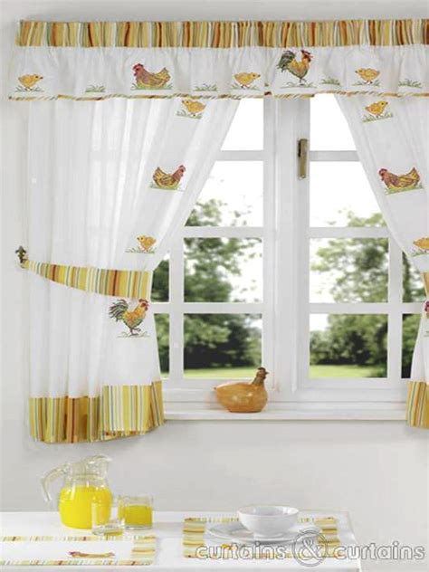 yellow and white kitchen curtains yellow white embroidered chickens kitchen curtain pelmet