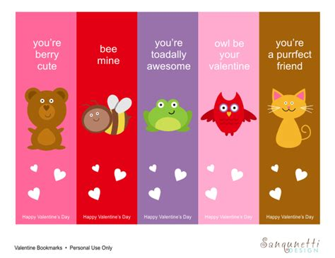 Free Printable: Valentine Bookmarks   Free Download Cute Printables Template