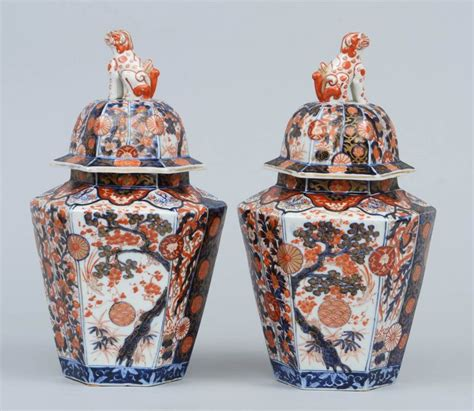 Decorative Vases With Lids Pair Imari Porcelain Vases And Lids At 1stdibs