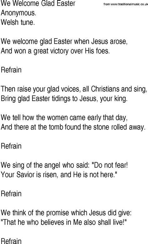 printable lyrics to easter parade hymn and gospel song we welcome glad easter by anonymous
