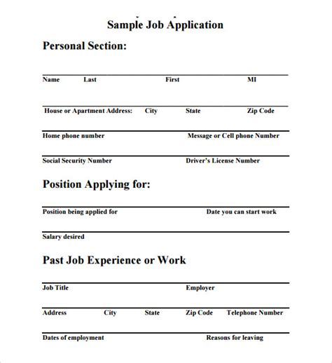 job application template 8 download free documents in pdf