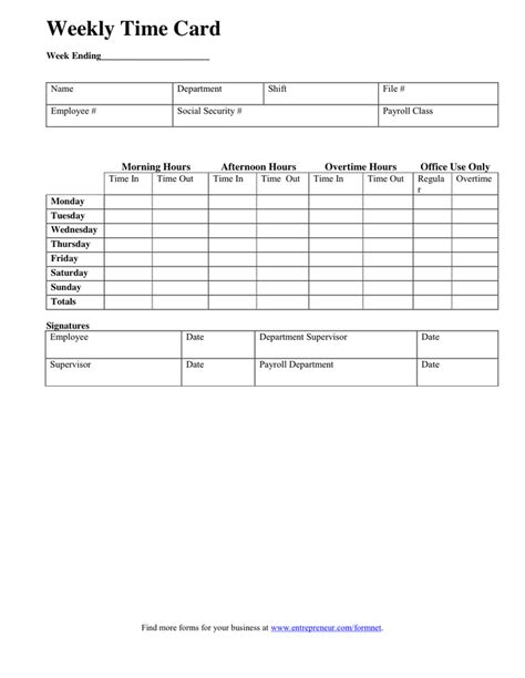 time card template docs weekly time card template in word and pdf formats