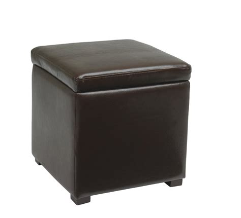Cube Storage Ottoman With Tray Avenue Six Detour Storage Cube Ottoman With Tray Espresso Bonded Leather Dtr817 Ebd